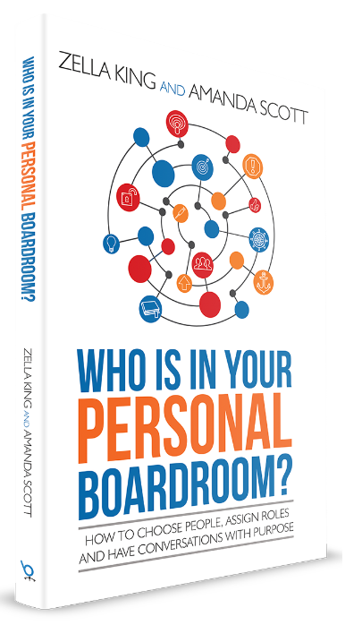 this is the book cover of Who is in your personal boardoom the book of zella king and amanda scott about professional network published on this sheep is orange the blog for women in business and leadership