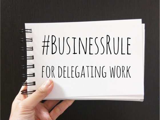 cover of business rule for delegating work on the blog this sheep is orange for women in business and leadership