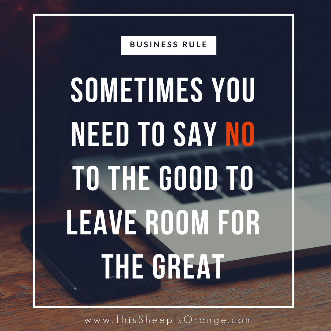 quote in a frame that says sometimes you need to say NO to the good to leave room for the Great