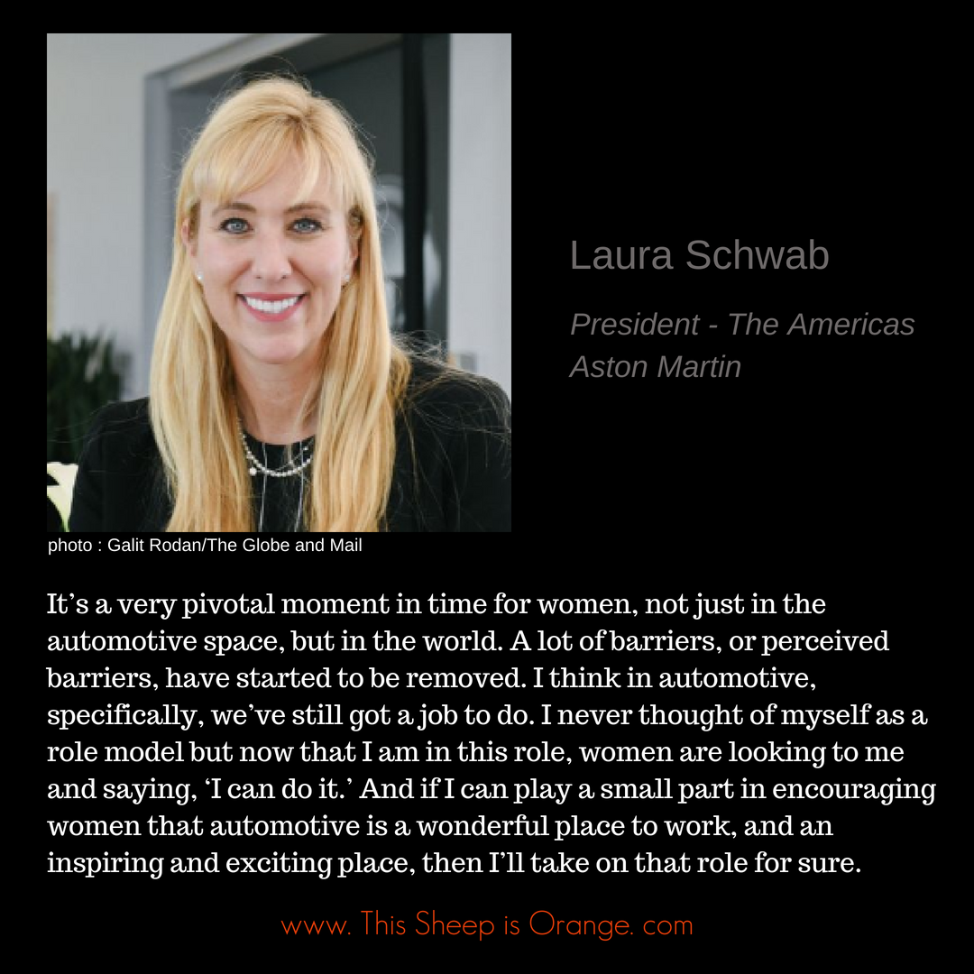quote of laura schwab first female president of aston martin