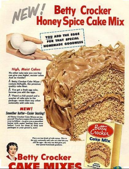 betty crocker advertsiment for cake mix 1950s