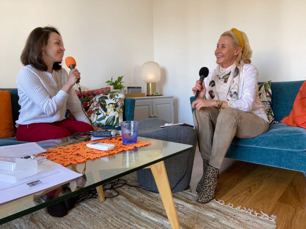 Serena Benedetti and Irina Maria Peterson recording an episode of Super Women of Monaco